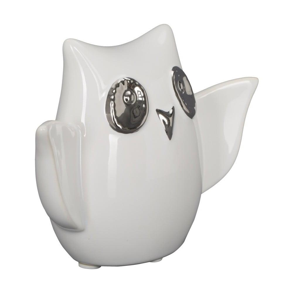 Bílá keramická dekorativní soška Mauro Ferretti Gufo Funny Owl B výška 10,5 cm Mauro Ferretti