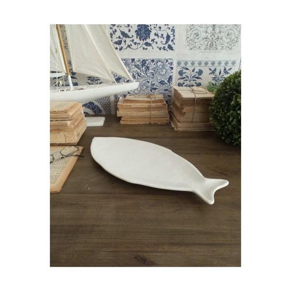 Sada 2 bílých keramických servírovacích talířů Orchidea Milano Fish