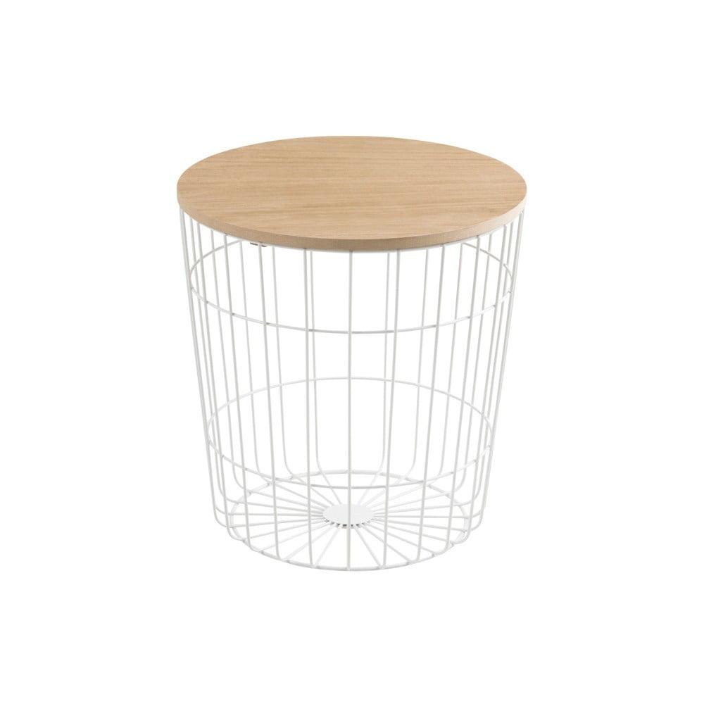 Bílý odkládací stolek Actona Lotus Light,ø 39 cm