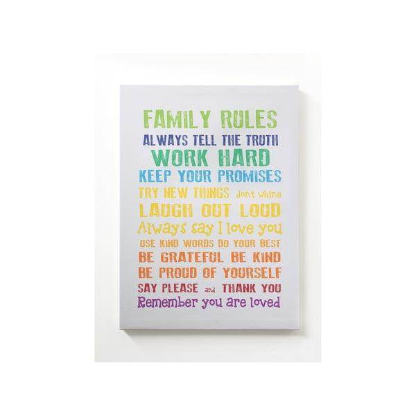 Obraz na plátně Family Rules, 50x70 cm, šedý