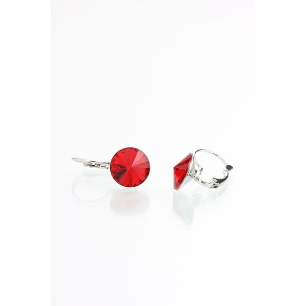 Červené náušnice se Swarovski krystaly Yasmine Longie