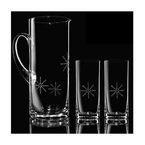 Set 1 carafă cu 2 pahare Star Swarovski Elements în ambalaj luxos