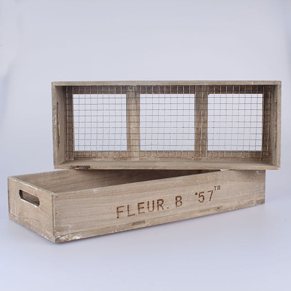 Sada 2 přepravek s pletivem Fleur B57