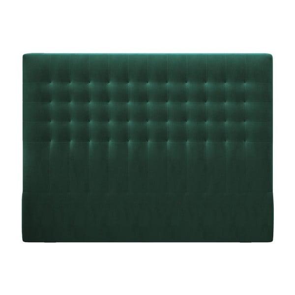 Lahvově zelené čelo postele se sametovým potahem Windsor & Co Sofas Apollo, 140x120cm