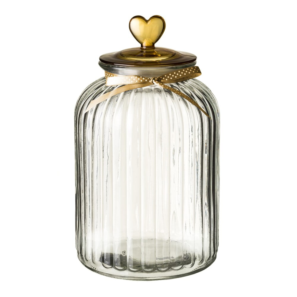 Skleněná dóza s víčkem ve zlaté barvě Unimasa Heart, 5,4l