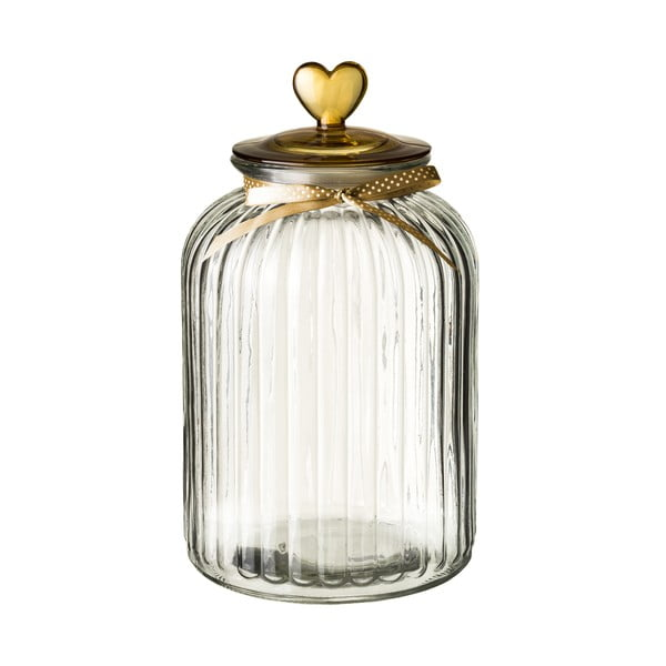 Recipient din sticlă cu capac Unimasa Heart, 5,4 l, auriu