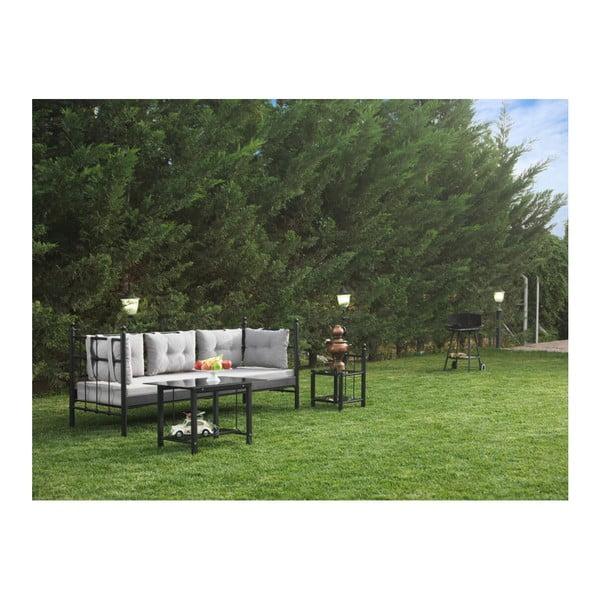 Canapea cu 3 locuri de grădină Lalas, 96 x 209 cm, gri-negru