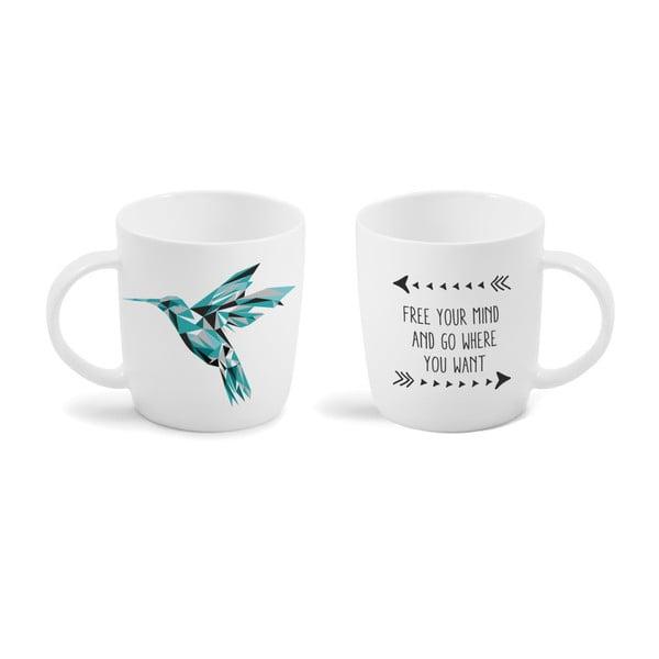 Cană cu mesaj imprimat față - verso Vialli Design Hummingbird, 370 ml