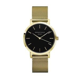 Zlaté dámské hodinky s černým ciferníkem RosefieldTheMercer