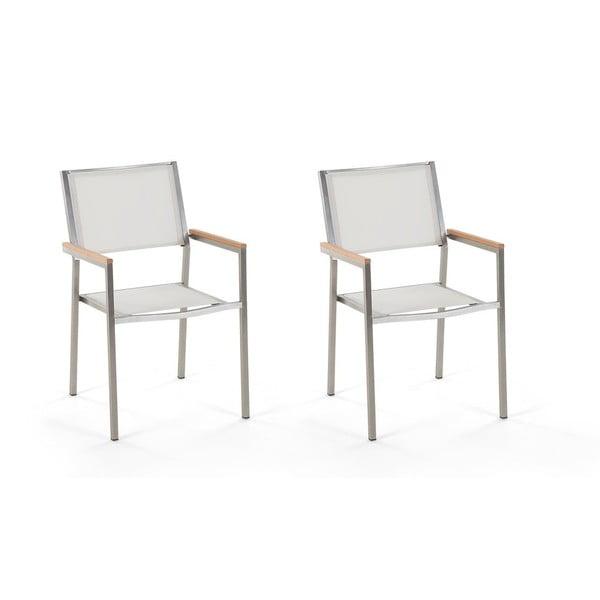 Set 2 scaune de grădină Monobeli Classy, alb