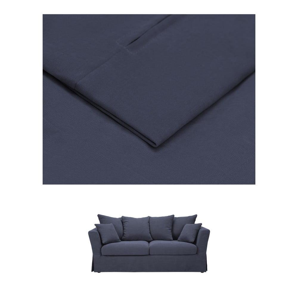 Tmavě modrý povlak na trojmístnou rozkládací pohovku THE CLASSIC LIVING Helene