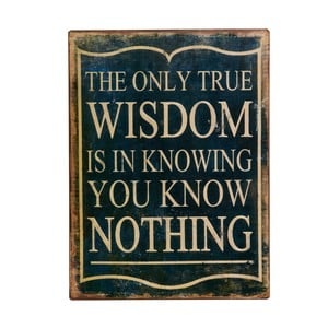 Cedule The only true wisdom, 35x27 cm
