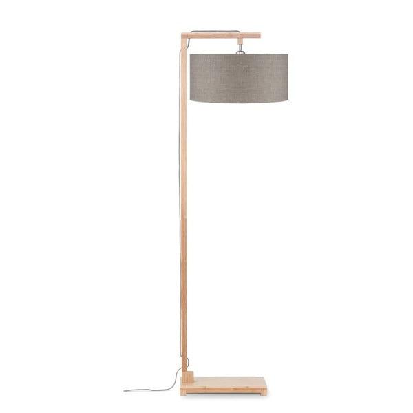 Stojací lampa s béžovým stínidlem a konstrukcí z bambusu Good&Mojo Himalaya