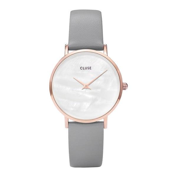 Dámske hodinky so sivým koženým remienkom a s perleťovým ciferníkom Cluse Minuit