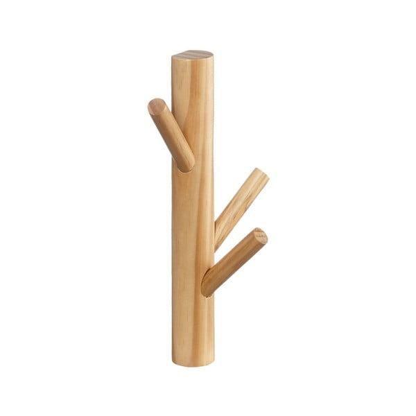 Cuier de perete cu 3 cârlige din lemn masiv de pin Furniteam Design, alb