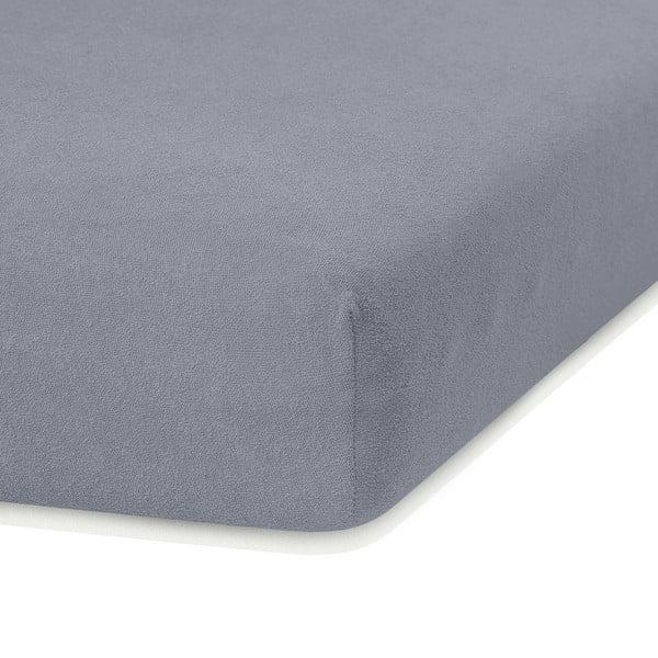 Tmavě šedé elastické prostěradlo s vysokým podílem bavlny AmeliaHome Ruby, 200 x 160-180 cm