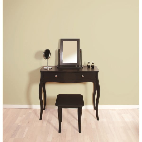 Čiernohnedá stolička k toaletnému stolíku Steens Baroque