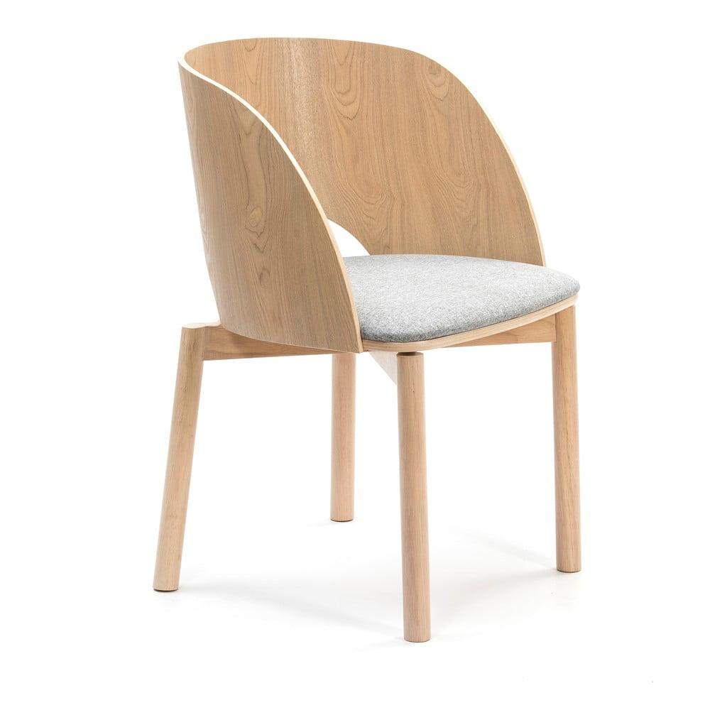 Přírodní židle s šedým podsedákem Teulat Dam