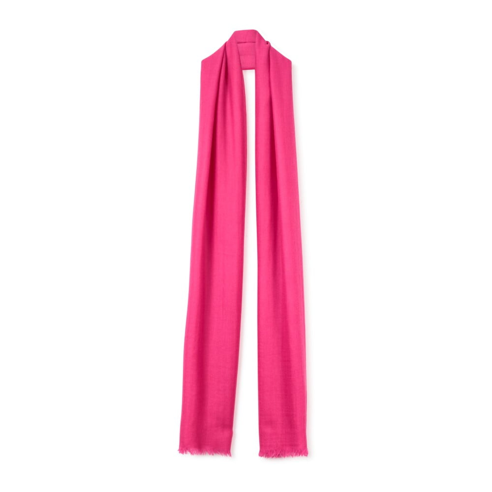 Růžová tenká kašmírová šála Bel cashmere Pola, 200 x 80 cm
