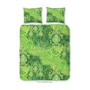 Zelené povlečení na dvoulůžko z bavlněného saténu Muller Textiels Laguna, 200 x 200 cm