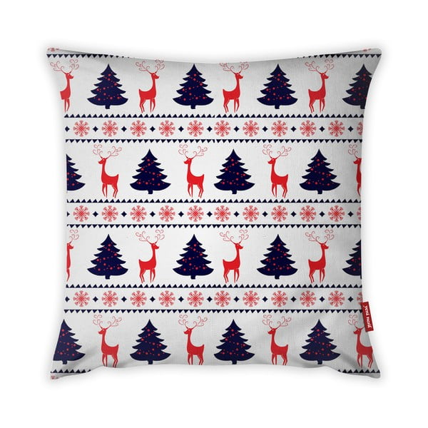 Față de pernă Vitaus Christmas Period Tree And Deer Pattern, 43 x 43 cm