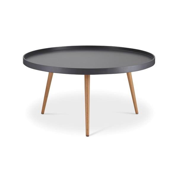 Šedý konferenční stolek s nohami z bukového dřeva Furnhouse Opus, Ø90cm