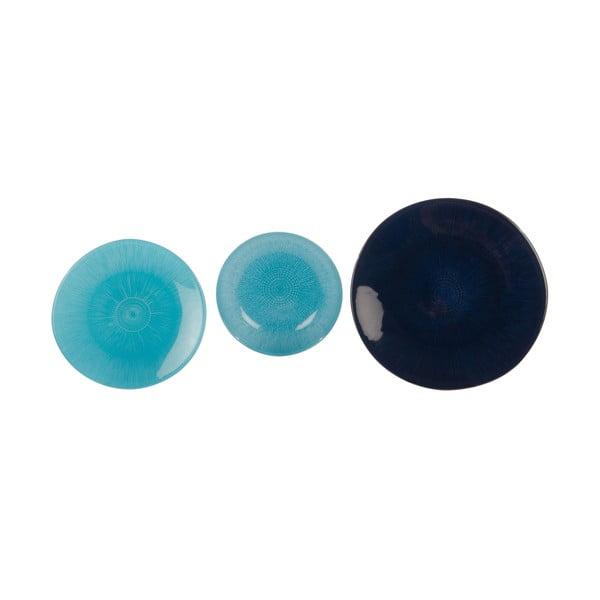 Sada 18 skleněných talířů Blue