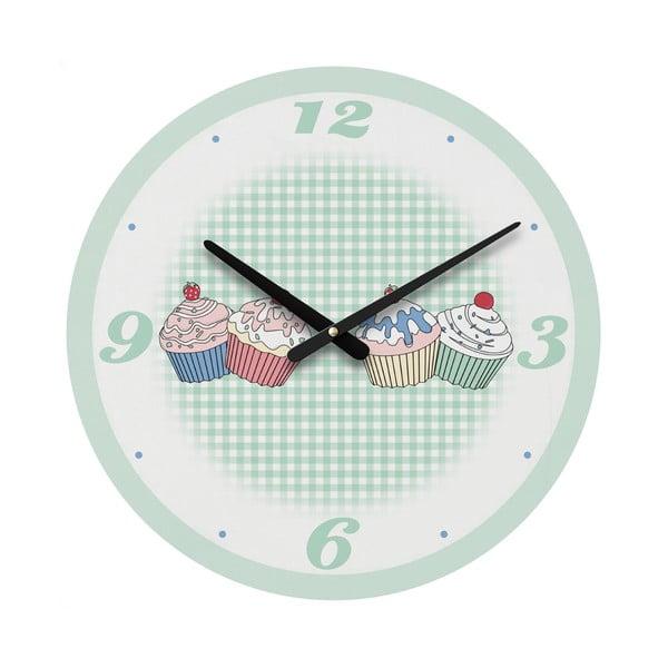 Nástěnné hodiny Green Cupcake, 34 cm