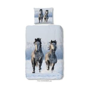 Lenjerie de pat din bumbac pentru copii Good Morning Snow Horses, 140 x 200 cm