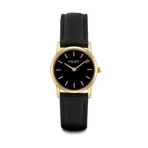 Dámské černé hodinky s koženým řemínkem a ciferníkem ve zlaté barvě Eastside Elridge