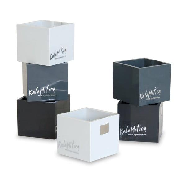 Set 6ks magnetických květináčů Cube Black, malý