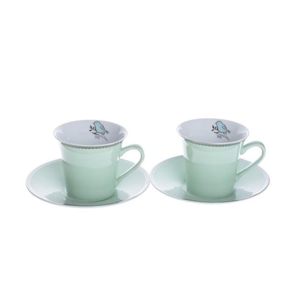 Porcelánové šálky na cappuccino s podšálky Zelená, 2 ks