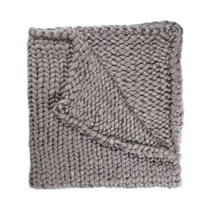 Pătură Chunky Plaids, gri, tricotată manual, 210 x 240 cm