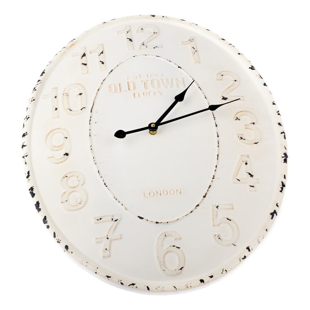 Bílé kovové nástěnné hodiny Dakls