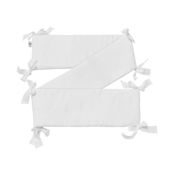 Biały lniany ochraniacz do łóżeczka BELLAMY Snow White, 23,5x198 cm