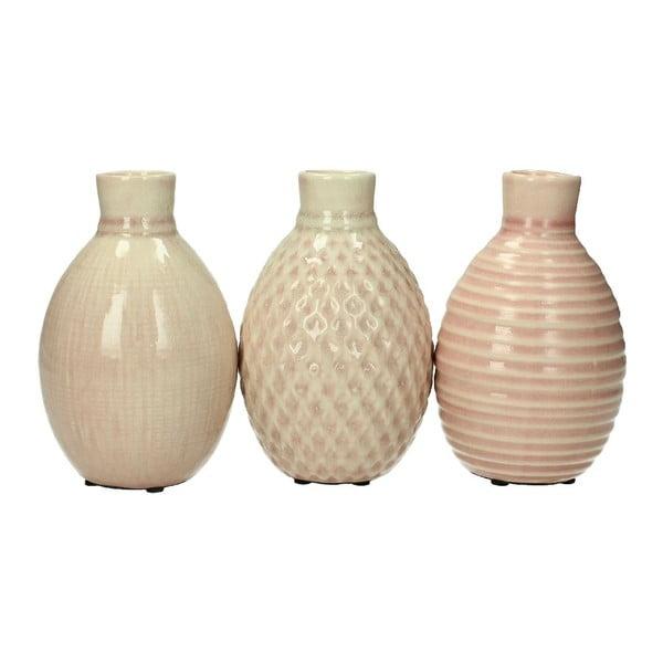Set 3 stojanů na svíčku Stoneware Pink