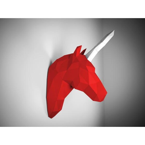 Papírová trofej Jednorožec, červeno-bílý