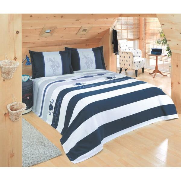 Sada přehozu přes postel a prostěradla US Polo 200x220 cm, Dark Blue, Grey and White