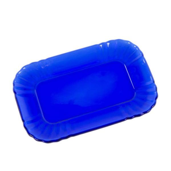 Tmavě modrý skleněný tácek Kaleidos