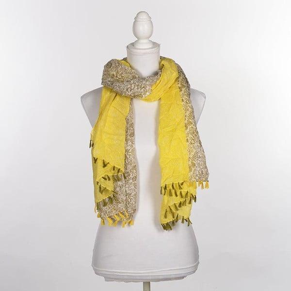 Šátek/pareo BLE Inart 100x180 cm, olivový/žlutý