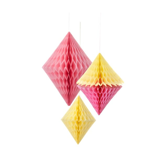 Papírové dekorace Honeycomb Diamond Yellow&Pink, 3 kusy