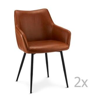 Set 2 scaune Furnhouse Maria, maro deschis poza