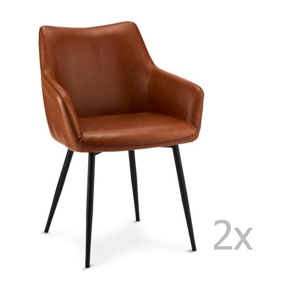 Zestaw 2 brązowych krzeseł Furnhouse Maria