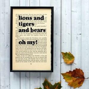 Plakát v dřevěném rámu Wizard of Oz Lions and Tigers