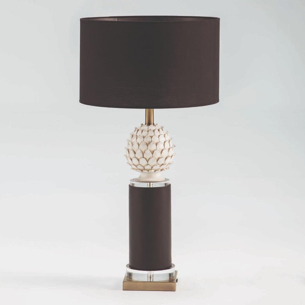 Černo-bílá stolní lampa bez stínidla Thai Natura, výška 58 cm