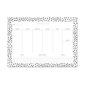 Týdenní plánovač Leo La Douce Black Dots,  21x29,7cm