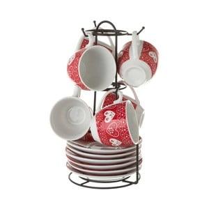 Červená sada 6 porcelánových hrnků na kávu se stojanem Unimasa