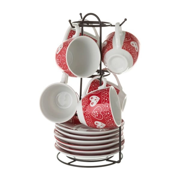 6 db piros porcelán csésze és alátét szett, fém állványon - Unimasa