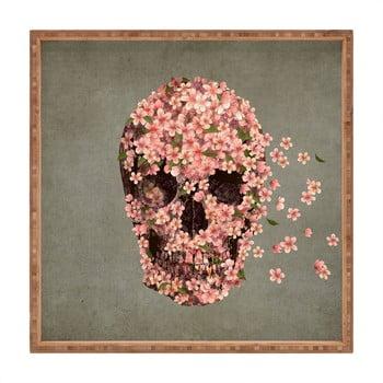 Tavă decorativă din lemn Flower Skull, 40x40cm
