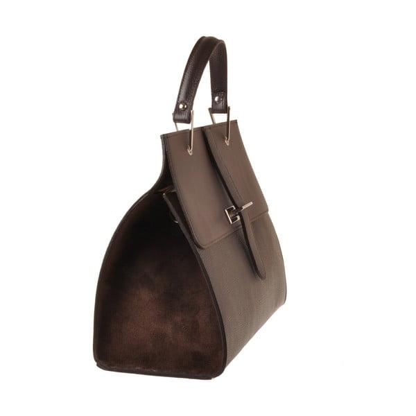 Kožená kabelka Pau, tmavě hnědá